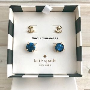 Kate Spade Nautical Anchor & Sea Blue Earring Set